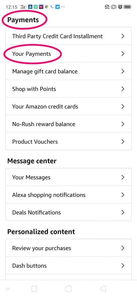 payments section in amazon